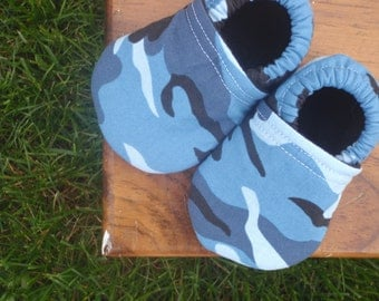 Baby Shoes for Boys in Blue and Black Camouflage - Custom Sizes 0-3 3-6 6-12 12-18 months by littlehouseofcolors