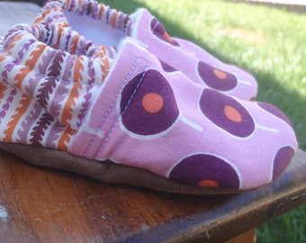 Purple and Orange Baby Shoes for Girls - Made to Order Sizes 0-24 months