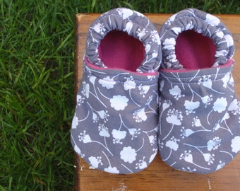 Baby Shoes for Girls - White Flowers on Grey / Gray With Pink Lining - Custom Sizes 0-24 months 2T-4T