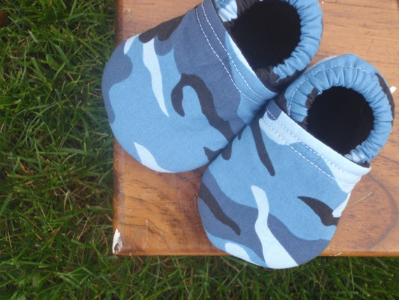 Baby Shoes for Boys in Blue and Black Camouflage - Custom Sizes 0-3 3-6 6-12 12-18 18-24 months 2T 3T 4T by littlehouseofcolors