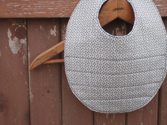 Baby Bib for Boy - Reversible and Washable - Grey/Gray and Blue and White
