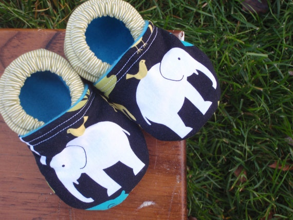Baby Shoes for Boy or Girl with Elephants and Green and White Stripe - Custom Sizes 0-24 months