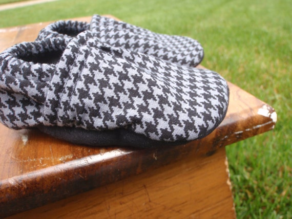 Baby Shoes for Boys - Charcoal Grey/Gray and Black Houndstooth Print - Custom Sizes 0-3, 3-6, 6-12, 12-18, 18-24 months