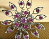 Faux amethyst and glass accent brooch