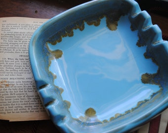 Vintage Ashtray, Pottery Ashtray, Large Blue Ashtray