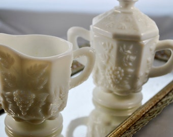 Vintage Milk Glass Cream and Sugar vessels