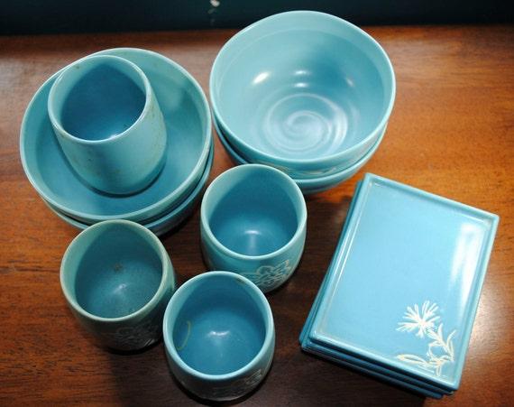 Blue Japanese pottery dish set