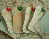 6 Recycled Map gift, journal tags - Scottish Highlands, Scotland, UK