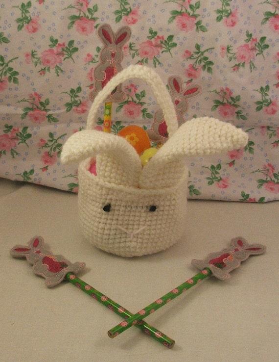 Crocheted Bunny Easter Basket