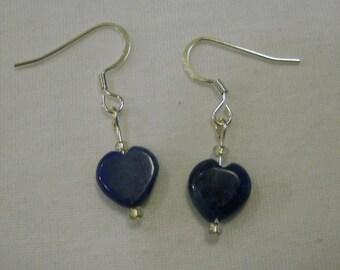 blue lapis lazuli heart earrings