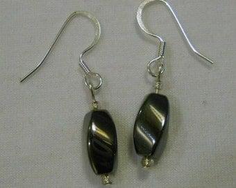 hematite (faux) twisted oval earrings