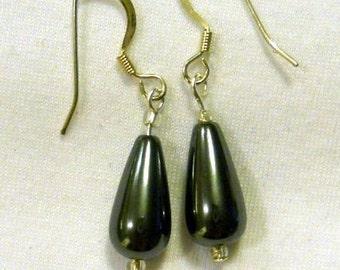hematite (faux) teardrop earrings