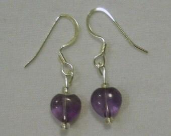 purple amethyst heart earrings
