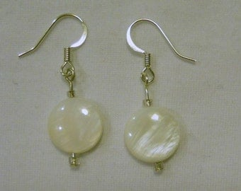 mother of pearl puffed coin earrings