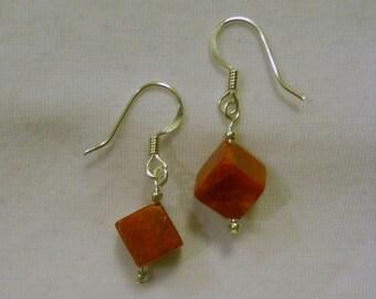 sponge coral dice earrings