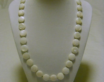 mother of pearl puffed coin necklace