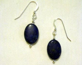 gemstone blue lapis lazuli flat oval earrings on sterling silver