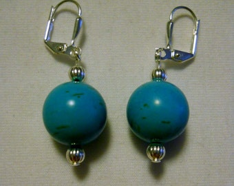 large turquoise magnesite ball earrings