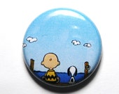 Charlie Brown and Snoopy - 1 inch Button, PIN or MAGNET
