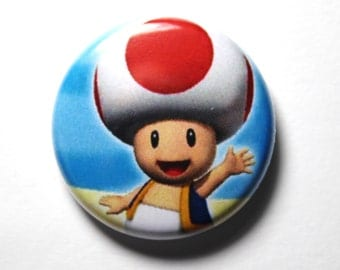 Toadstool, Super Mario Brothers - 1 inch Button