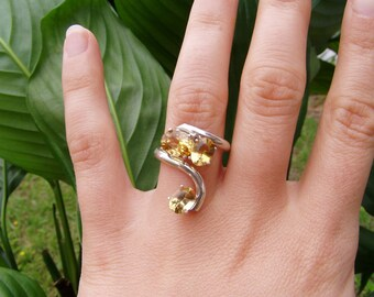triple citrine sun silver ring
