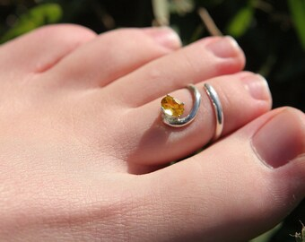 TOE RING - silver citrine sun