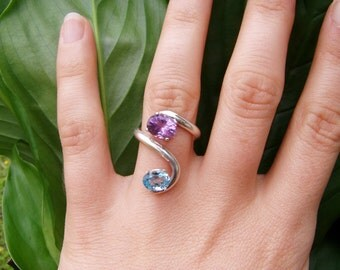 dusk ring - synthetic amethyst, synthetic blue topaz, silver