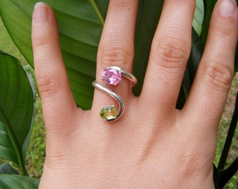 orchid ring - pink cubic zirconium, synthetic peridot, silver