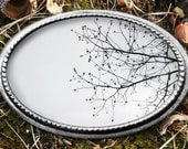 Belt Buckle Tree Branches Black and White Custom Made 4.1 x 2.75 Oval with braid detailing and Silver Finish. Rustic gifts for men man woman