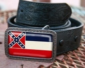 Mississippi Flag - Custom Made Belt Buckle - 3w x 2h Rectangle with Rust Coloring and Swirl Detaling.