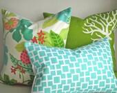 Set Of THREE COORDINATING- 18x18 and 12x18 Lumbar Pillows