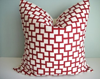 Free US Shipping, CLEARANCE 20x20 Decorative Pillow Cover In Cat's Cradle / Red
