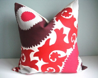 12x18 Indoor/Outdoor Designer Pillow P Kaufman In Fahri Claret,Decorative Pillow Cover,Same Fabric On Both Sides