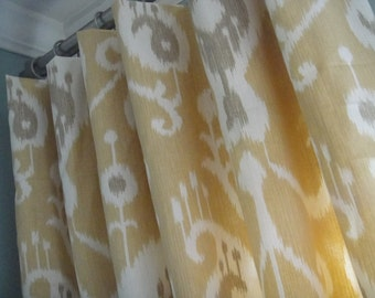 A Pair Of Flat Panels On Clip Rings /Rod Pocket Draperies In Ikat Barley, Available In Different Lengths