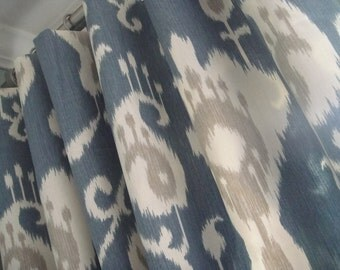 A Pair Of Flat Panels On Clip Rings /Rod Pocket Draperies In Ikat Yacht Blue Available in Different Lengths