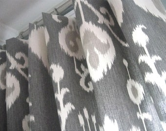 A Pair Of Flat Panels On Clip Rings /Rod Pocket Draperies In Java Ikat Pewter, Available In Different Lengths
