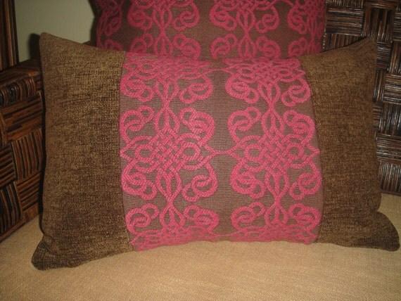 Designer Pillow In Raspberry/Chocolate 12x18 Lumbar