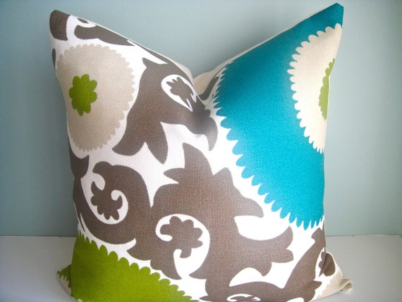 CLEARANCE - 20X20 DECORATIVE Pillow Cover In Fahri Aquamarine,Decorative Pillow