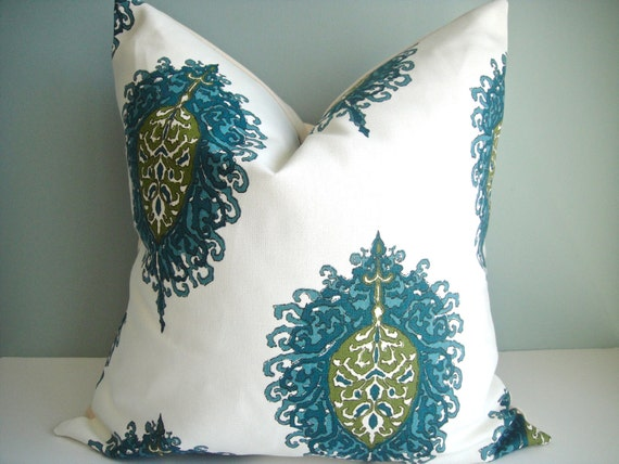 CLEARANCE 18x18 Designer Pillow In Aqua / Green By Duralee