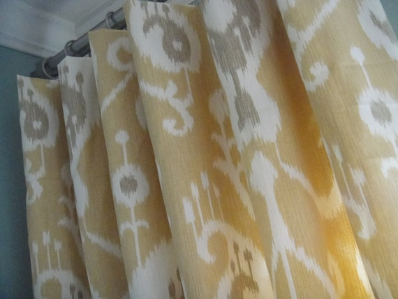 Reserved Listing for Lindsay- 2 Pairs Of  50x108 Inch Flat Panels On Clip Rings /Rod Pocket In Java Ikat Barley