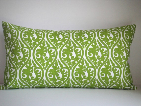 12x22 Lumbar Pillow In Chartreuse White