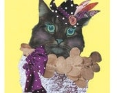 Maria - Super cute and funky 8.5x11 fine art giclee print. Mixed media Maine Coon. Great for cat lovers, kids room and fashionistas.