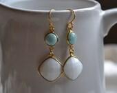 Mermaid Earrings - White Agate and Larimar