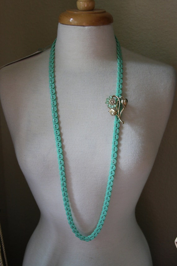 Aqua Button Necklace VINTAGE with Moonglow and Rhinestone flower brooch