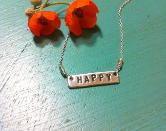 """Delicate Sterling Silver """"Little Bit Of Happy"""" Necklace"""