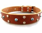 Leather Dog Collar Latigo Sunset