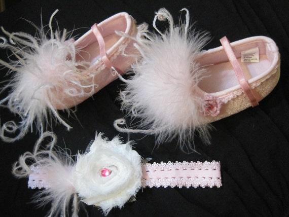 Size 3 Baby Girl Velvet Pink Shoes Ostrich Feathers Rhinestones Headband Set