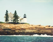 "Maine Lighthouse Photography - winter harbor light photograph new england print landscape coastal art - 11x14, 8x10 Photo, ""Winter Harbor"""