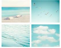 Beach Photography Set - aqua blue print ocean seashore coastal wall art seashells clouds water sea photo - Four 11x14, 8x10, 5x5 Photograph