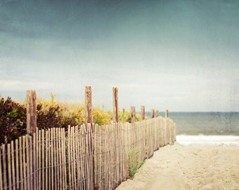Beach Photography Print, Beach Dune, Landscape Photo, Blue Brown Beige, Coastal Wall Art, Seashore Decor, Ocean Photograph, Nautical Picture
